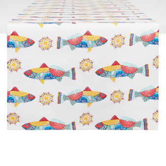 100% cotton table runner with Mexican fish print