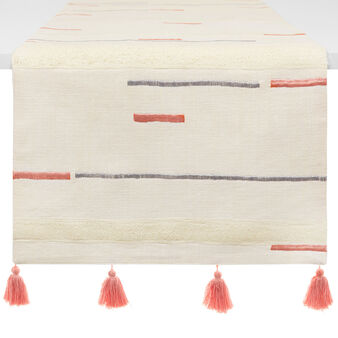 Table runner in 100% cotton with embroidery and tassels