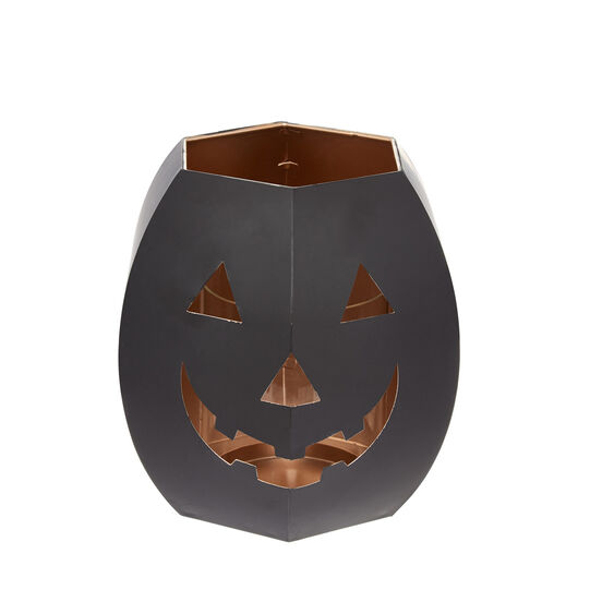 Metal pumpkin-shaped lantern