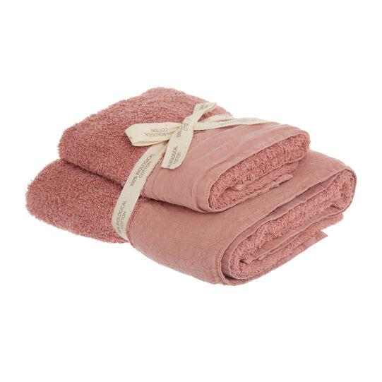 Set 2 asciugamani puro cotone biologico bordo in lino
