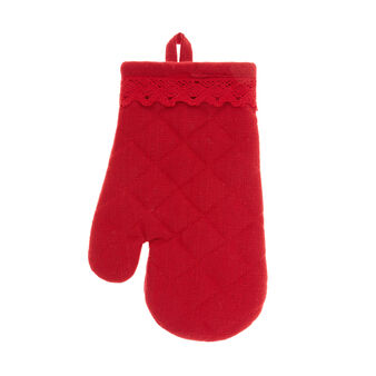 100% iridescent cotton oven mitt with lace edging
