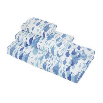 Asciugamano cotone velour stampa pesci