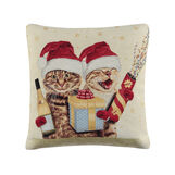 Gobelin cushion with Christmas cats print