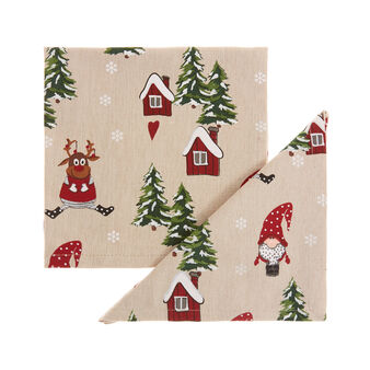 2-pack napkins in 100% cotton with Christmas print