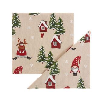 Set 2 tovaglioli puro cotone stampa natalizia