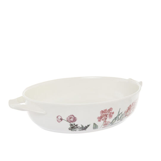 Oven dish in new bone China with floral decoration