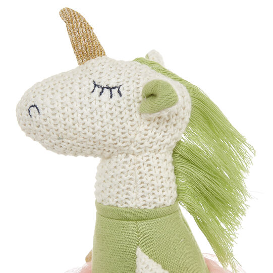 Unicorn dancer soft toy in knitted cotton