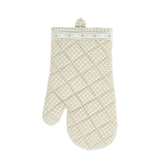 Oven mitt in 100% cotton with small hearts print