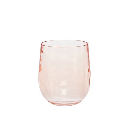 Pink plastic water glass