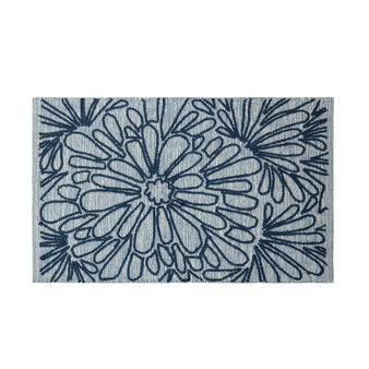 100% cotton bath mat with floral embroidery