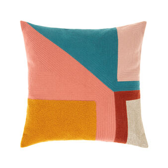 Geometric chain-stitch cushion