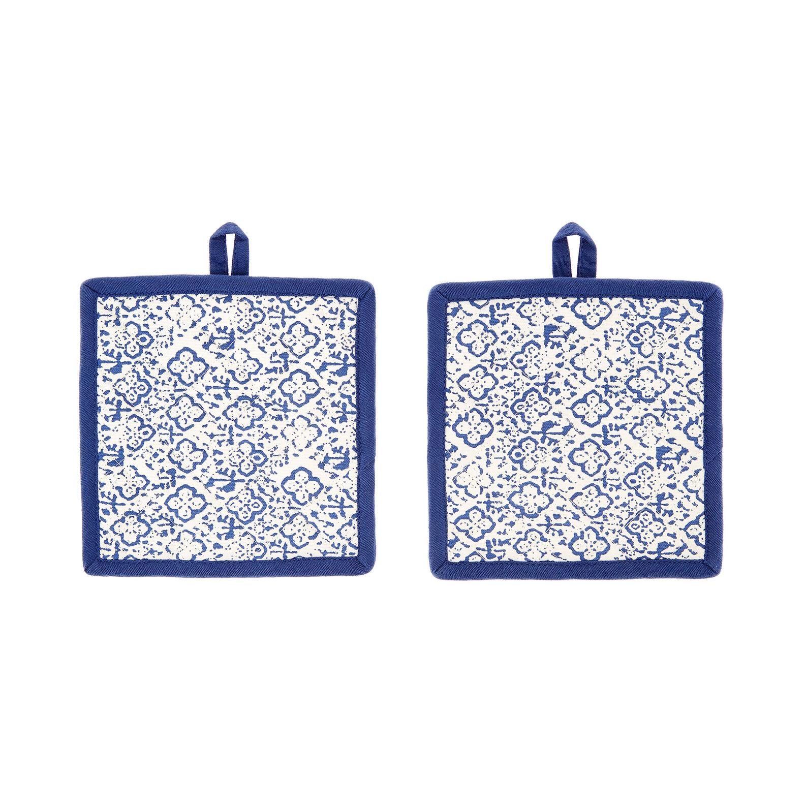 2-pack pot holders in 100% cotton with ornamental print
