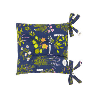Seat pad in 100% cotton with Herbarium print