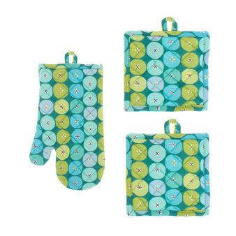 Set guanto e 2 presine puro cotone stampa geometrica a cerchi
