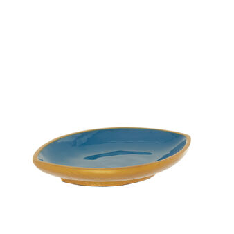 Eye-shaped decorative saucer with gold border