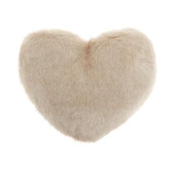 Heart-shaped faux fur cushion