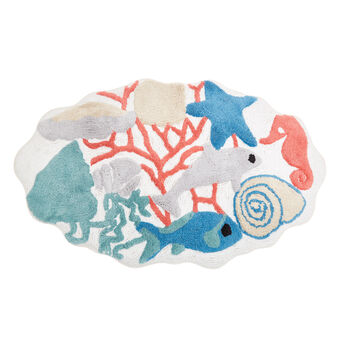 100% cotton bath mat with marine motif