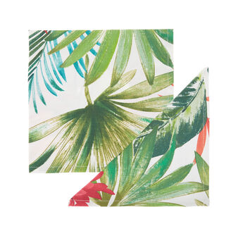 Set of 4 napkins in 100% cotton with tropical leaf print