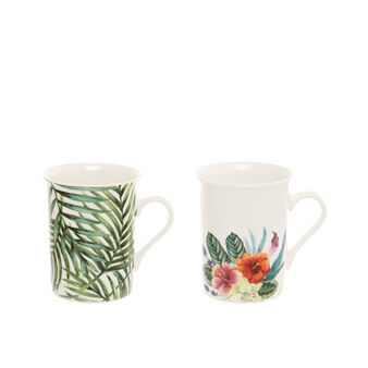 Mug in New Bone China with leaf decoration