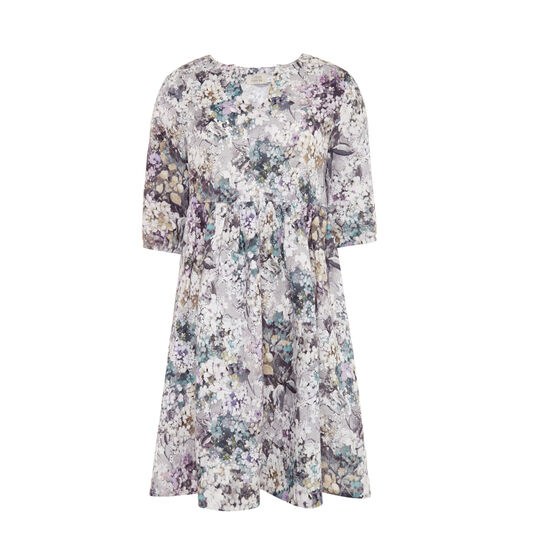 100% linen dress with gathering and floral pattern
