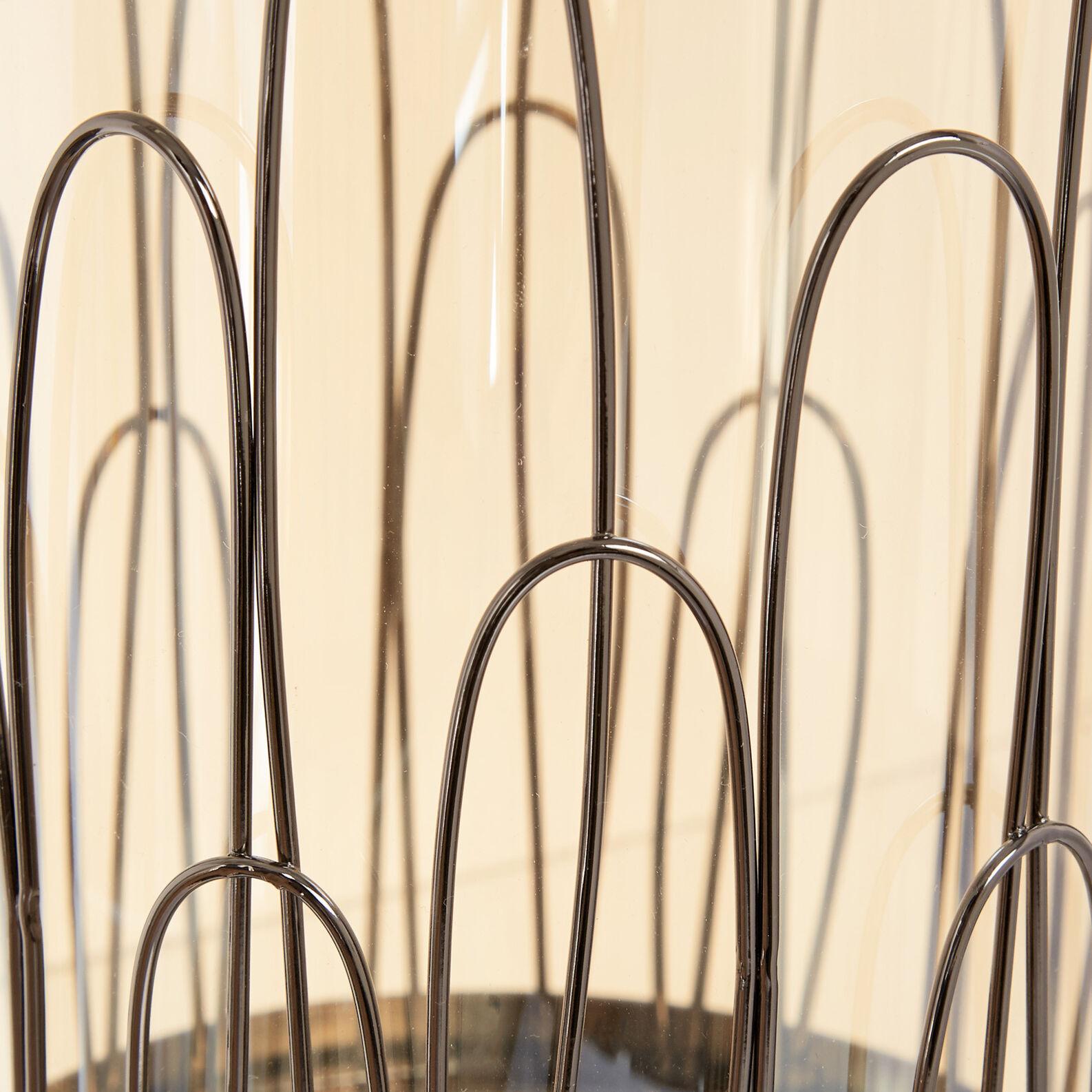 Antivento in metallo cromato e vetro