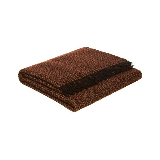 Plaid misto lana tricot con frange