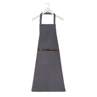 100% stonewashed cotton kitchen apron with pleather trim