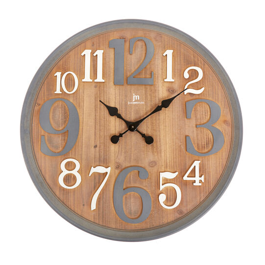 Large wall clock in distressed-effect wood