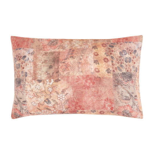 Pillowcase in washed linen with patchwork pattern