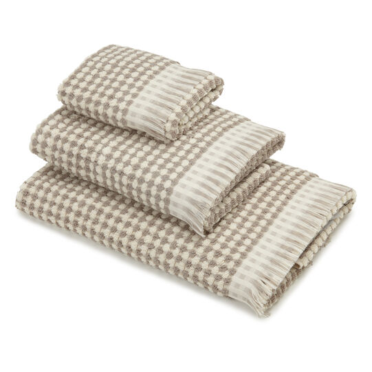 Thermae check weave towel in 100% cotton terry