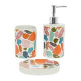 Set of 3 ceramic bathroom accessories with splashes motif