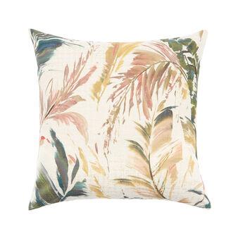 Cushion with leaves print 50x50cm
