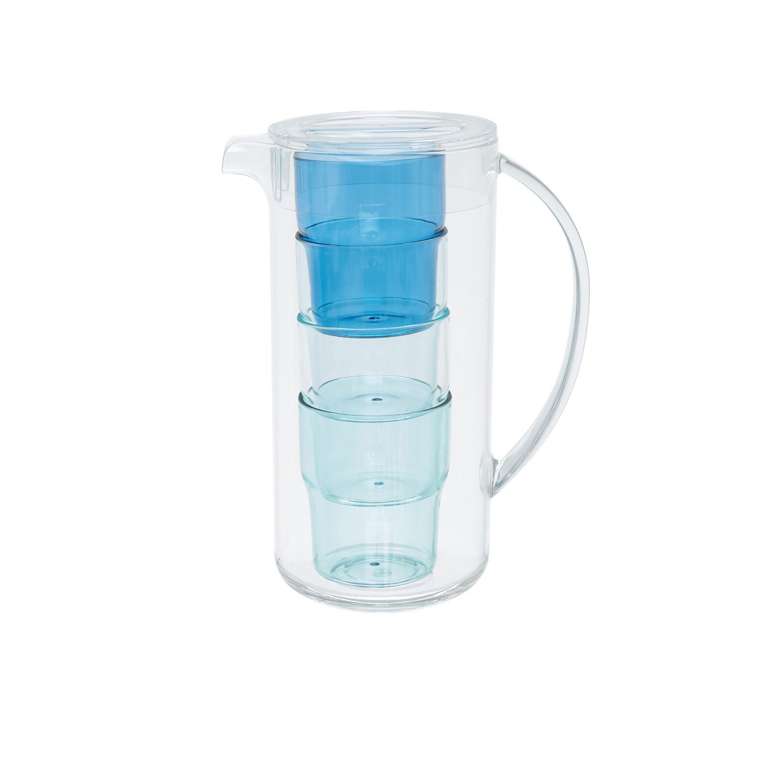 Plastic carafe with 4 glasses