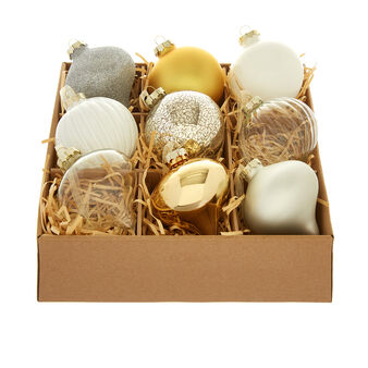 Set of 9 gold and white baubles D8cm