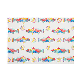 100% cotton table mat with Mexican fish print