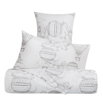 Bed linen set in cotton percale with hot air balloon pattern