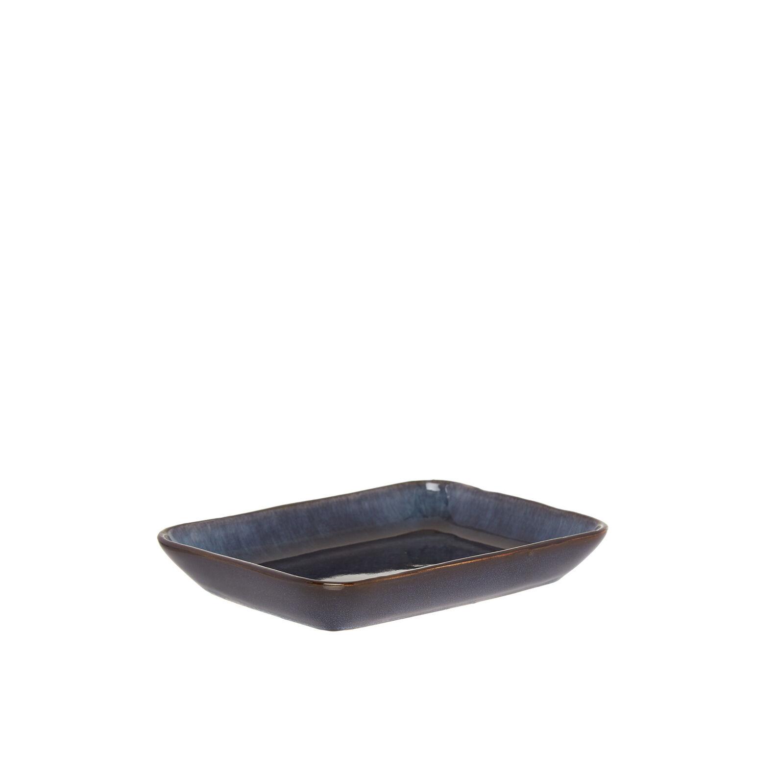 Stoneware saucer with reactive glaze finish.