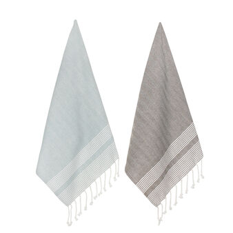 2-pack tea towels in 100% cotton with fringing