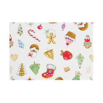 Cotton twill table mat with Christmas print by Sandra Jacobs design