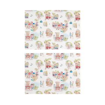 Set of 2 table mats in 100% cotton with Montmartre print