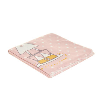 Micro-fleece blanket with girl mouse print and polka dots