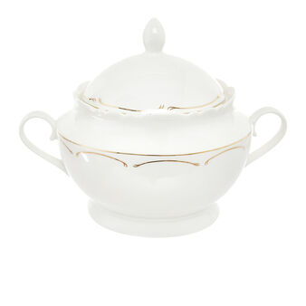 Tureen in new bone China with gold stripe