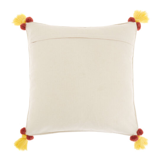 Cotton cushion with embroidered garland 45x45cm