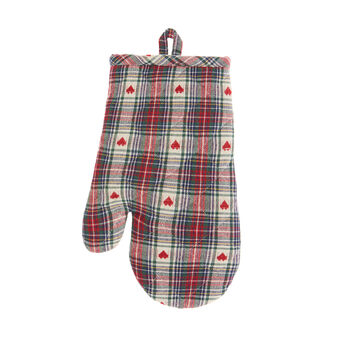 Oven mitt in 100% cotton with tartan and hearts motif
