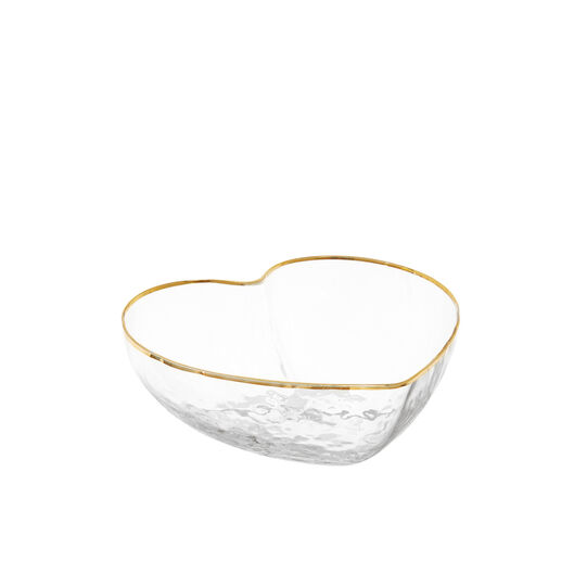 Small heart-shaped glass bowl with gold line
