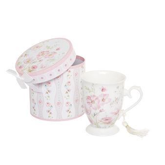 Porcelain gift mug with rose decoration