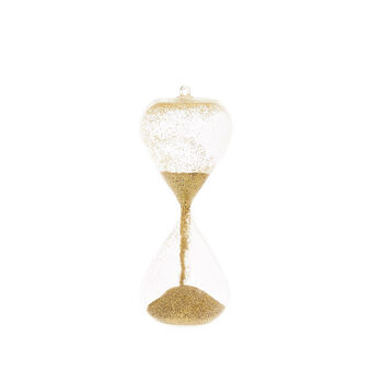 Hourglass decoration with glitter