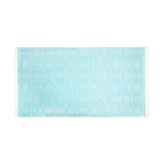 Beach towel in cotton with nautical motif