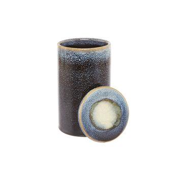 Ceramic box with reactive glazes