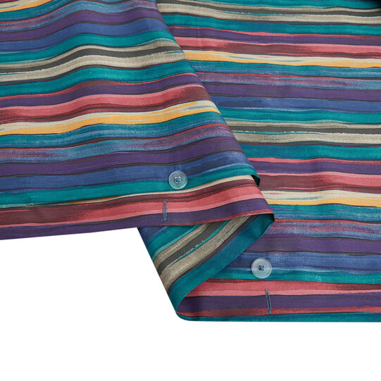 Cotton satin duvet cover with striped pattern